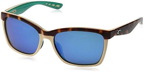 Neue Costa Del Mar Anaa 105 Retro Retro Damen Tort / Creme Mint Blau Rahmen Spiegel Objektiv Wrap Sonnenbrille