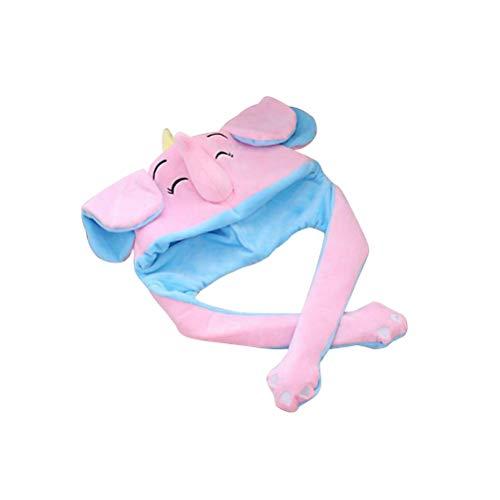 FENICAL Cute Elephant Pop Up Ears Hat Funny Cartoon Animal Cap Suave Peluche de Juguete para niños Adultos (Rosa)