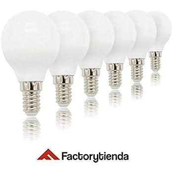 PACK 6 unidades Bombillas LED G45 esferica ,consumo 6W,(equivalente a 60 W) casquillo FINO E14, 480lumen, luz CALIDA 3000K(no regulable)[Clase de eficiencia ...