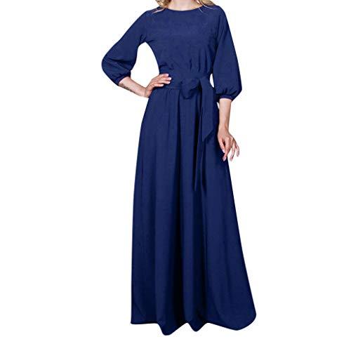 MAYOGO Festliche Kleider Abschlussball Kleider Damen Lang Elegant Cocktailkleid Große Größen Solide Abendkleider Prom Dress Bodenlang Elegant Festival Kleidung Damen Partykleid Laterne ärmel - Blaue Streifen-blues Shirt