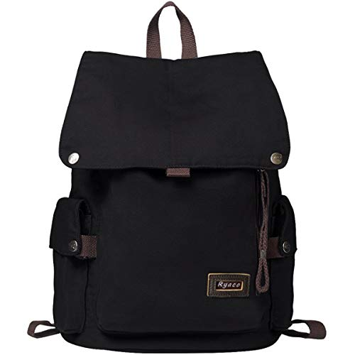 RYACO Zaino Casual Canvas, Zaino Tela Unisex/Uomo/Donna Porta PC Backpack per Sportivo, Scuola, Viaggi, Weekend Trip, Camping e Outdoor(Nero)