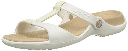 Crocs, Cleo III, Sandali, Donna Bianco (Oyster/Gold)