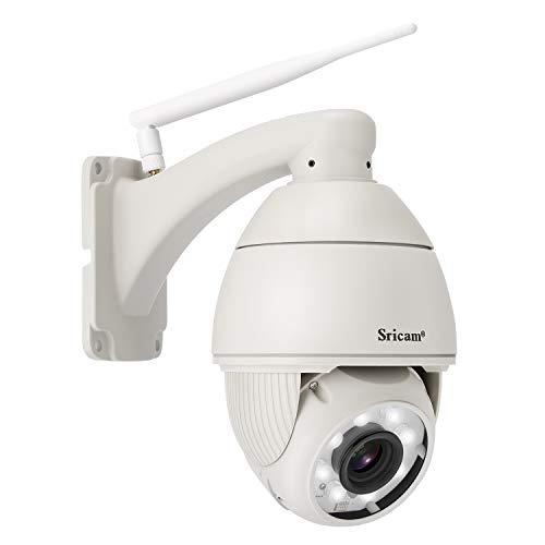 Caméra IP Surveillance, SRICAM SP008 Caméra de Sécurité Sans Fil Caméra Dôme WiFi Etanche IP66, Vision Nocturne, Détection de Mouvement, Blanc