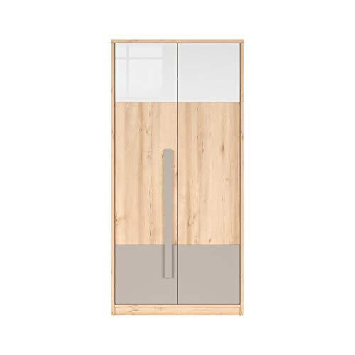 SMARTBett NAMECK Kleiderschrank Garderobe 2-türig in Buche-Nachbildung/Weiß Glanz/Grau