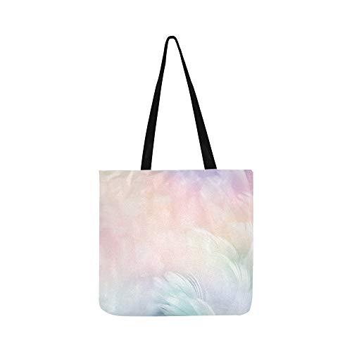 Abstrakte Feder Regenbogen Patchwork Leinwand Tote Handtasche Schultertasche Crossbody Taschen Geldbörsen Für Männer Und Frauen Einkaufstasche