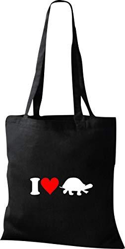 Shirtstown Stoffbeutel I Love Schildkröte Tiere Tiermotive Naturkult, Baumwolltasche Farbe schwarz