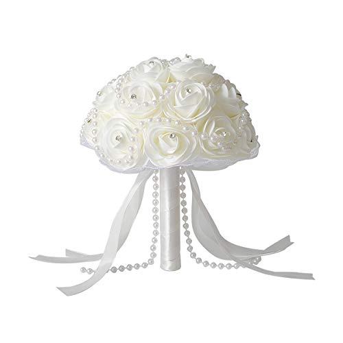 Ceshumd bouquet da sposa matrimonio nuptiale elegante perle strass rosa avorio, sposa bouquet damigelle d' onore