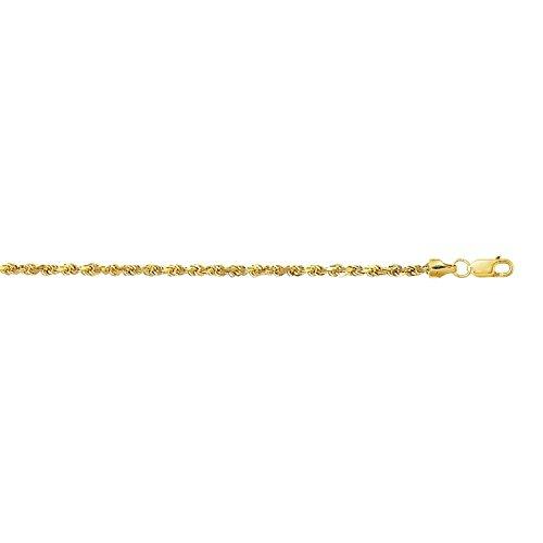 14 Karat / 585 Gold Kordelkette Gelbgold Unisex – 2.50 mm. Breit – Länge wählbar