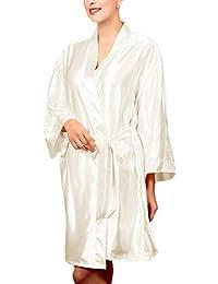 Sauna Abrigos Mujer Manga Larga con V-Cuello Esencial Cinturón Albornoz Elegante e Anchos Hipster Cómodo Suave Respirable Batas Kimono…