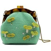 Ysting Infeltrita Tote in verde con i semi sono germinati. Borsa della novità feltro. In feltro di lana spalla Bag.