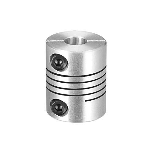 Sourcingmap Motorwelle 6,35 mm bis 8 mm Gelenkkoppelung, Spiralbalkenkkupplung, 20 mm Durchmesser, 25 mm Länge, Silber