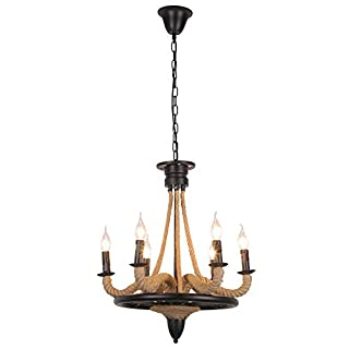American Village Hemp Rope Chandeliers, Vintage Industrial LED Iron Lighting Decoration Bar Ceiling Lamps Antique Bar Living Room Balcony Pendant Light (Design : 6heads)