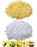 TooGet Pellets de Cire d'abeille Jaune Pur 200g Pellets de Cire d'abeille Blanc 200g - 100% Naturel, Qualité Cosmétique, Qualité Premium - 400g