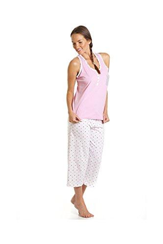 Pyjama avec pantacourt - motif à pois - Rose et blanc Rose