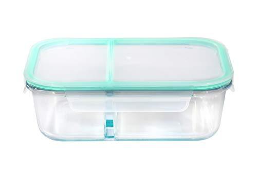 Royalford 650 ml Frischhaltedose, blaue Clips, 2 Fächer, rechteckige Aufbewahrungsbox, Kunststoff verschließbar