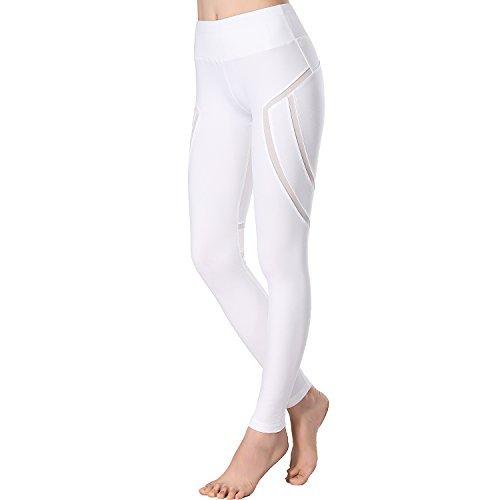 Beepeak Legging de sport long en maille pour femme moyen Side Thigh Mesh White