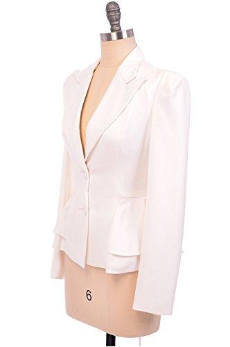 Damen gehobene 2 Knöpfe Vintage Blazer Jacke in Größe 8 10 12 14 16 und Farbe weiß - Weiß, 14 (Blazer Vintage Ein-knopf)