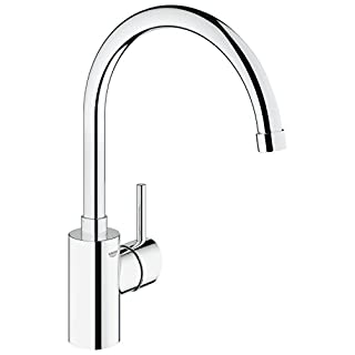 GROHE 32661001 Concetto Kitchen Tap (High Spout, 0/150/360 Degree Swivel Range and Starlight) - Chrome