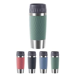 Emsa N2011700 Travel Mug Easy Twist Thermobecher, 0,36 L, Easy Quick-Press, Edelstahl-Isolierbecher, Schraubverschluss, 4h heiß/8h kalt, 100% dicht, auslaufsicher, 360°-Trinköffnung, petrol