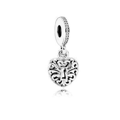791876CZ Love Lock argento perla pendente Pandora