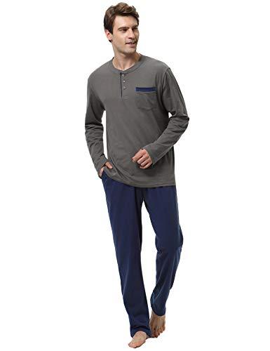 62d37ce5dd Aibrou Pijamas Hombre Invierno 100% Algodon Mangas Largas Pantalones Largo