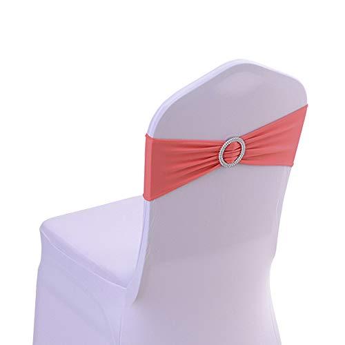 HENGMEI 50 Elastische Stuhl-Schärpen Schleifen Stretchband Stuhl Cover-Band Hochzeitsdekoration Hussen Bänder für Hochzeit, Partys, Bankett (Korallen Rot, Bänder, 50 Stück) - Jubiläum-diamant-band