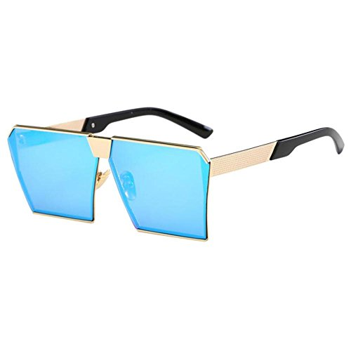 Phenovo Unisex Oversized Large Frame Flat Lens Vintage Sunglasses Top Huge Big Oversized - blue, as described
