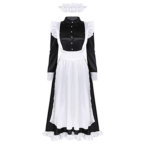 FEESHOW Frauen Dienstmädchen Cosplay Kostüm Outfit Maid Uniform Langarm Satinkleid Schürze Kopfbedeckung Set Halloween Dressing Up Party Karneval Schwarz Small (Maid-outfits Für Frauen)