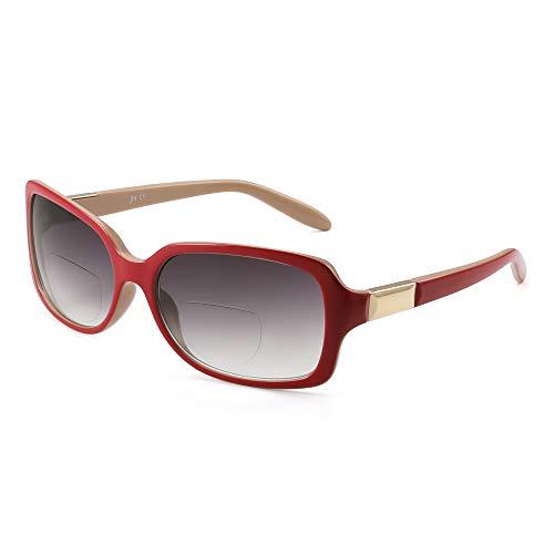 JM Klassisch Bifokal Lesebrille Platz Stylish Gradient Sonnenbrillen Leser für Damen +1.75 Rot