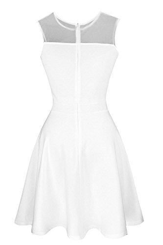 Suimiki Damen ärmellos Rundausschnitt falten A-linie Partykleid mini Cocktailkleid kurz Festliche Kleid Weiß