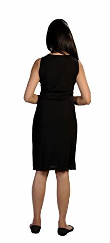 Ladies sleeveless black party dress with sequins-(Black-ZP04-L)