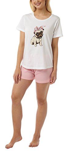 Nikaro Ladies Cute Pug Short Cotton Pyjamas with Pug Eye Mask (S to 3XL)