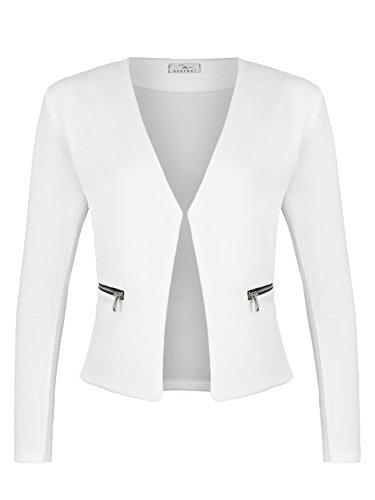 Damen Blazer mit Taschen ( 382 ), Farbe:Weiß, Kostüme & Blazer für Damen:40 / L