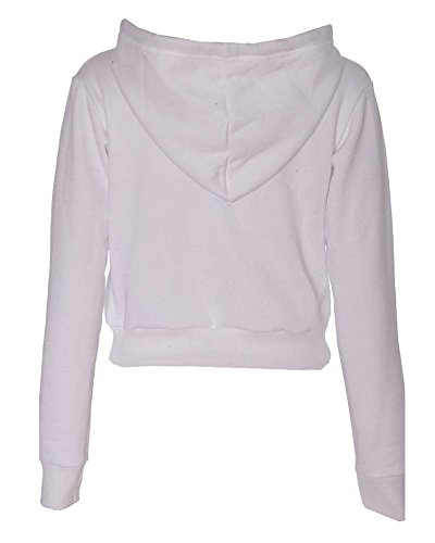 Femme Crop Top Manches Longues Just Do It Later Print Fleece Hoodie Blanc