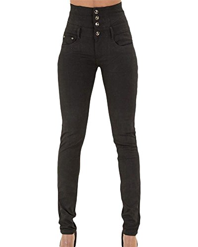 Mujer Pantalones Vaquero Skinny Push Up Pantalones Elástico Jeans Cintura Alta Negro M