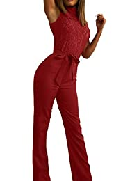 Battnot Damen Jumpsuit Spitze Ärmellos Bogen-Bügel Gürtel, Frauen Overalls  Sexy Elegant Schnüren Wide e561350e93