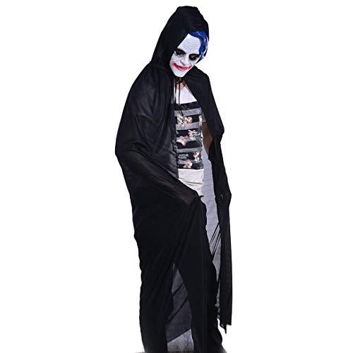 GOKOMO Männer und Frauen Tod Hexenmantel einschichtigen dicken High-Neck-Mantel 165CM (Mann Hacke Kostüm)
