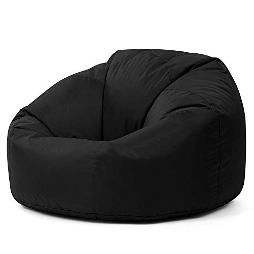 Bean Bag Bazaar Sillón Tipo Puf Clásico - 84cm x 70cm, Puf Grande para Interiores y Exteriores Negro...