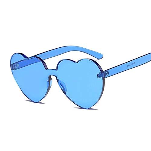 YUHANGH Liebe Herzform Sonnenbrille Frauen Randlose Rahmen Farbton Klare Linse Bunte Transparente Sonnenbrille Weibliche Bule Shades