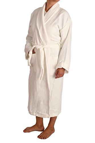 ARTEGUI-Albornoz Calidad, PIQUÉ, 100% algodón, Fabricado en UE. XXL. LIQUIDACIÓN. Blanco