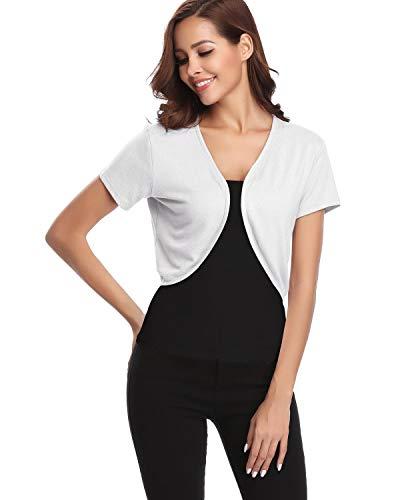 Hawiton Damen Bolero Kurze Strickjacke Lady Schulterjacke Elegante Cardigan Offene Blazer Shrug Top,Cream,L