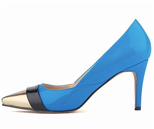 Wealsex Escarpins Vernis Couleurs Mélangées Bout Or Bout Pointu Talon Moyen Aiguille Chaussure de Soirée Mariage Mode Talon 8 Cm Femme Bleu