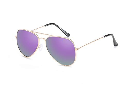 Dilunsizrf Herren Polarized Sonnenbrillen, Aviator Sonnenbrillen, Classic Unisex Polarized Sonnenbrillen, Ultra Light Metal Frame HD Lens,Goldframepurplesilver
