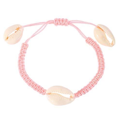 WINLISTING Muttertag natürliche Shell handgewebte verstellbare Pull Armband Damen Schmuck (Rosa) -