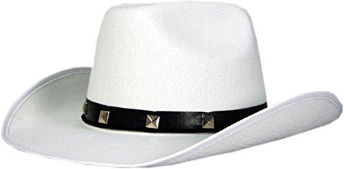 Da uomo Wild occidentale Costume natalizio accessori in feltro Cowboy con cappello UK White Taglia unica
