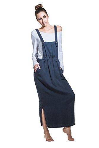 Maxi Latzkleid - Marineblau Langer Pinafore mit T-Shirt One Size NINANAVY-One Size