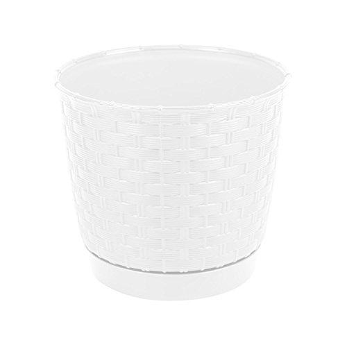 Rond pot de fleur blanc 21.5 cm en plastique, soucoupe amovible