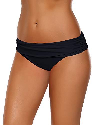 Roskiky Einfarbige, Geraffte Bikinihose mit festem Bund Schwarz Größe M