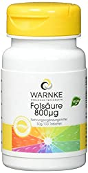 Warnke Gesundheitsprodukte Folsäure 800µg 100 Tabletten, 1er Pack (1 x 30 g)