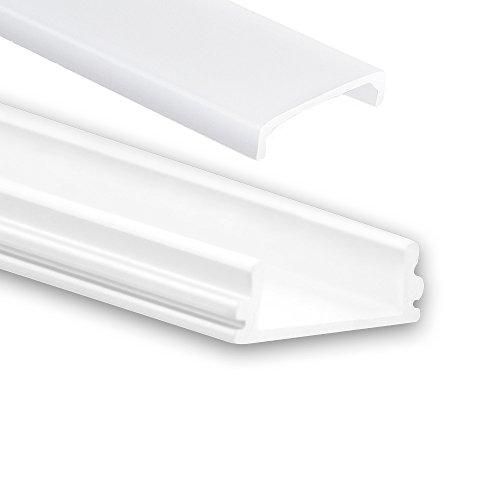 P15 Han Aluminium Profil f. LED Streifen & LED Flexbänder LED Profil 2m weiß + Abdeckung Opal (milchige Abdeckung) Aluprofil